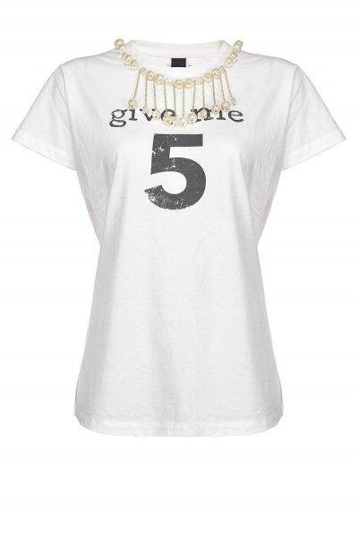 Camiseta PINKO Estroverso Adorno Joya Efecto Roto IG15NUY6YX