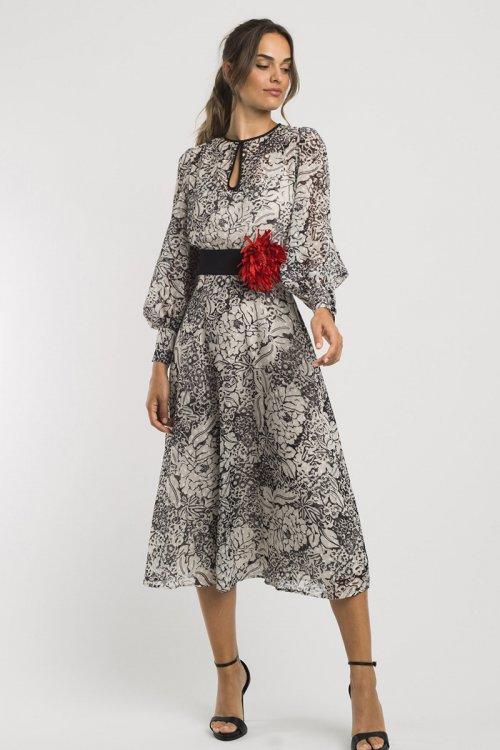 Vestido ALBA CONDE Estampado + Flor 3417-824-01 + 3991-791-55
