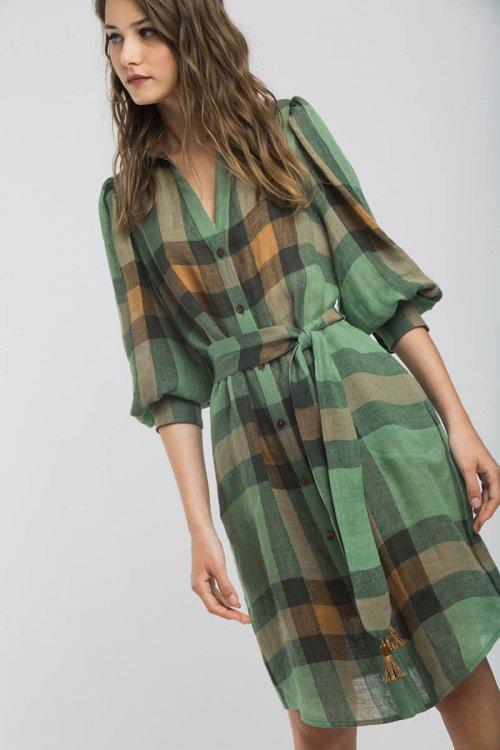 Vestido ALBA CONDE Lino Verde 1409-126-22