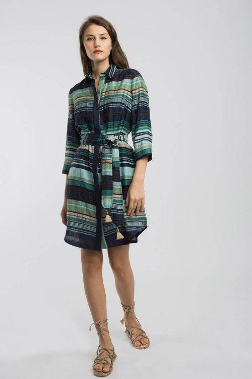 Vestido ALBA CONDE Marino Con Rayas 1406-103-30