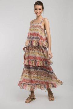Vestido ALBA CONDE Naranja Florecitas 1403-111-48