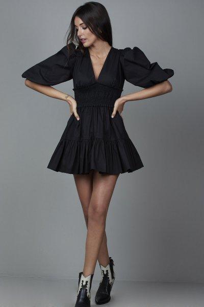 Vestido CARMEN HORNEROS Fajín Negro