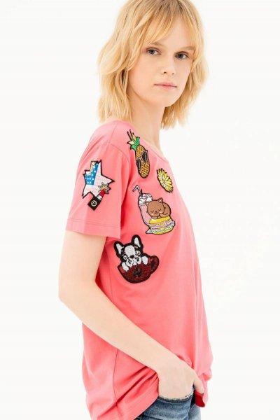 Camiseta FRACOMINA Coral Parches FP21ST3009J40012