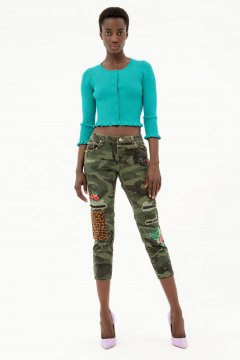 Jeans FRACOMINA Cara Cropped Boyfriend Camuflaje FR21SP2012W40101