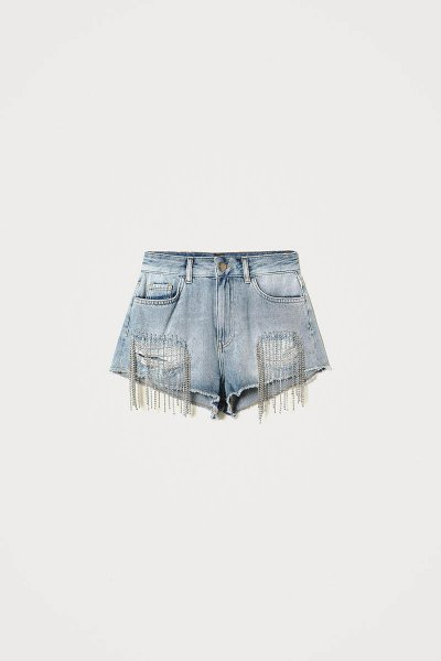 Shorts TWINSET Vaqueros Con Flecos En Bisel 211TT2381