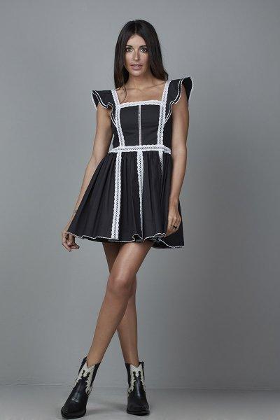 Vestido CARMEN HORNEROS Bolillo Negro CHV2105-N