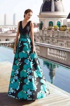Vestido MARFIL Largo Falda Brocada 5J269