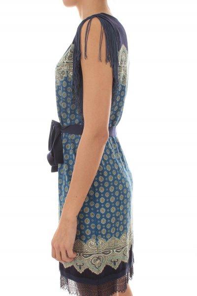 Vestido TWINSET De Punto De Cashemira Estampado Flecos 211TT3121