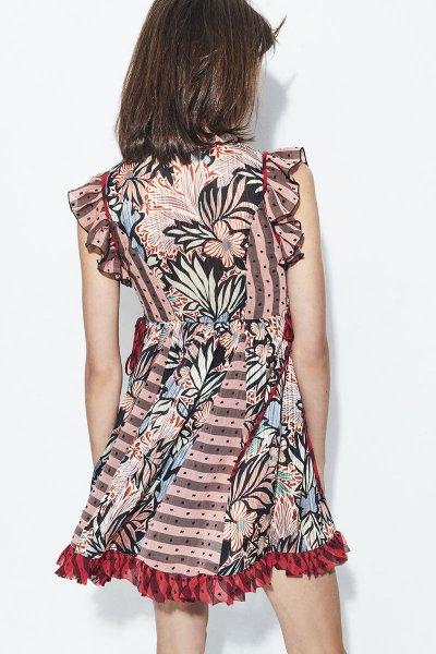 Vestido HIGHLY PREPPY Gasa Tropical Combinado 7835