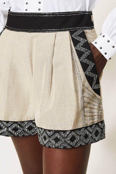 Shorts TWINSET Mezcla De Lino Con Bordados 211TT2613