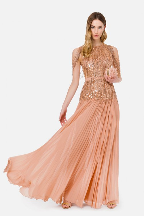 Vestido ELISABETTA FRANCHI Largo Falda Plisada AB13113E2