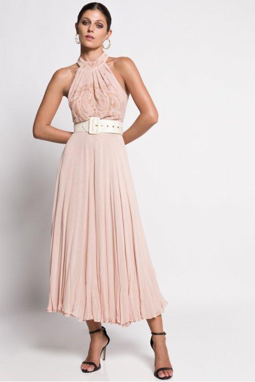 Vestido MATILDE CANO Rosa Pliegues 8508