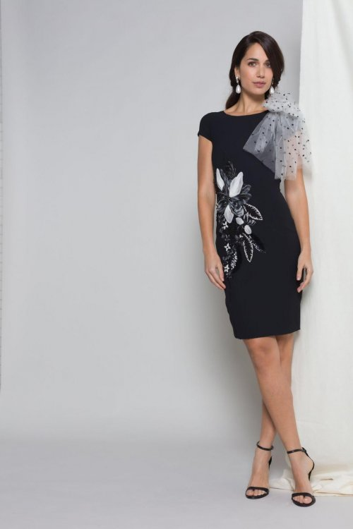 Vestido MATILDE CANO Bordado Negro Lazo 8112