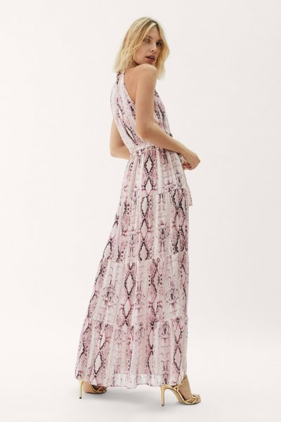 Vestido MAYTE BY LOLA CASADEMUNT Halter Snake Rosa 42165011
