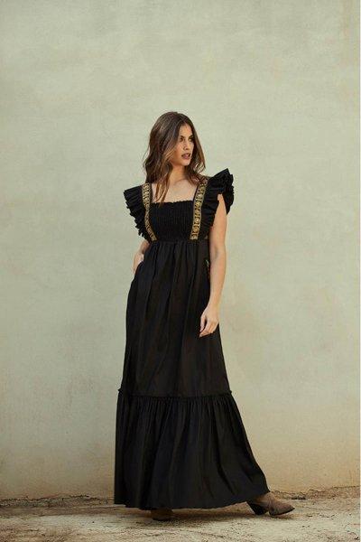 Vestido MANGATA Largo Negro Tafetán 2101-030