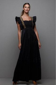 Vestido MANGATA Largo Negro Tafetán 2021-030