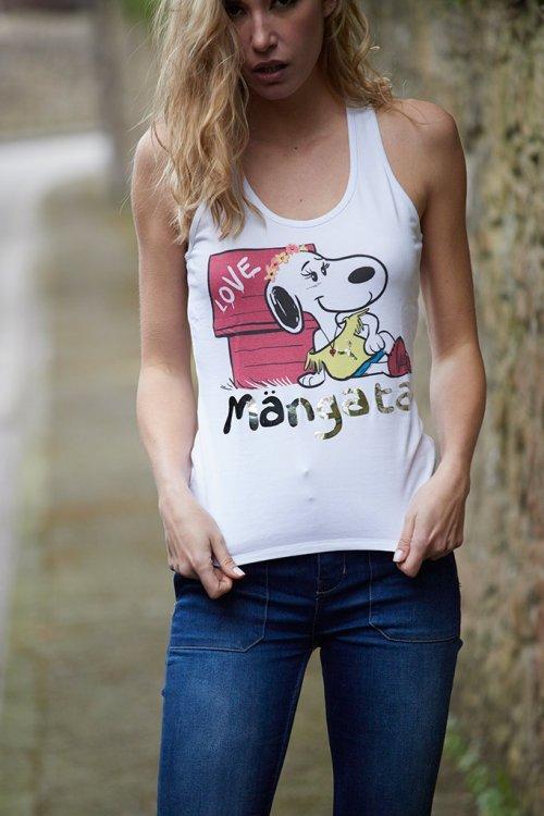 Camiseta MANGATA Tirantes Snoopy Negra