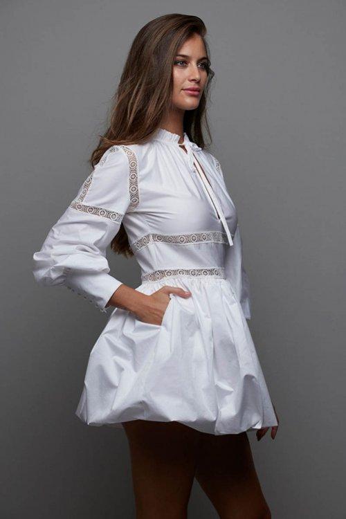 Vestido MANGATA Tafetán Abullonado Blanco 2101-021
