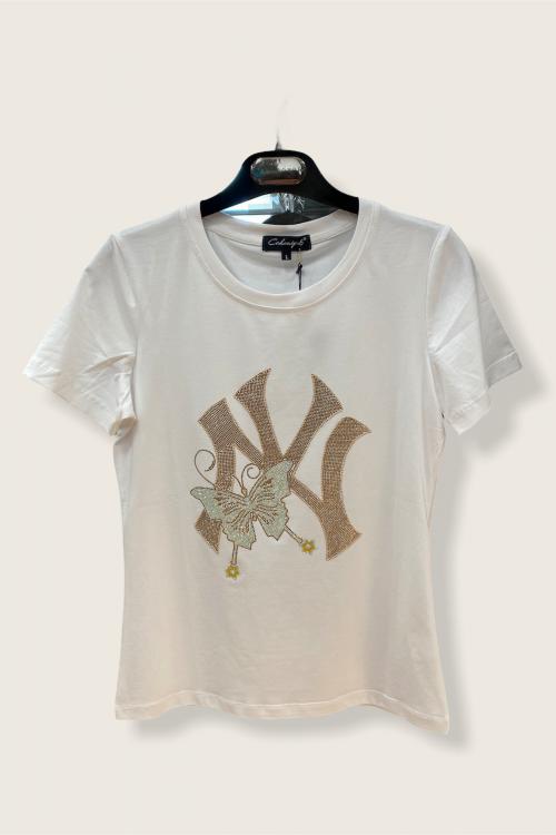 Camiseta ROSEBLU Mariposa Strass