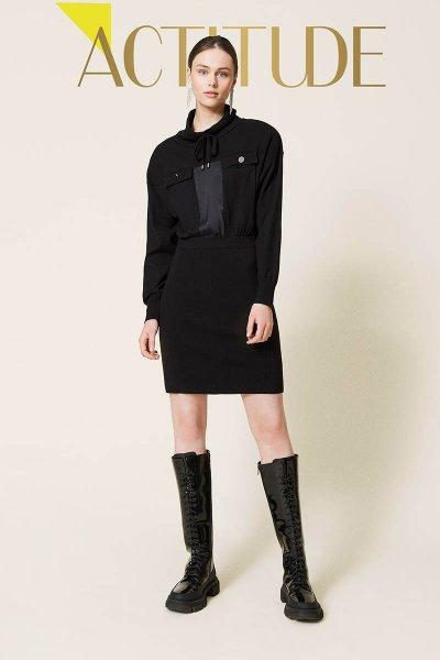 Vestido TWINSET De Punto Con Inserciones De Raso 212AP3191
