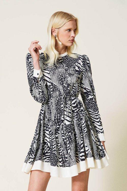 Vestido TWINSET De Crepé Animal Print 212TP2412