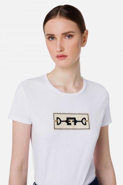 Camiseta ELISABETTA FRANCHI Bordado Broche Crudo MA20116E2
