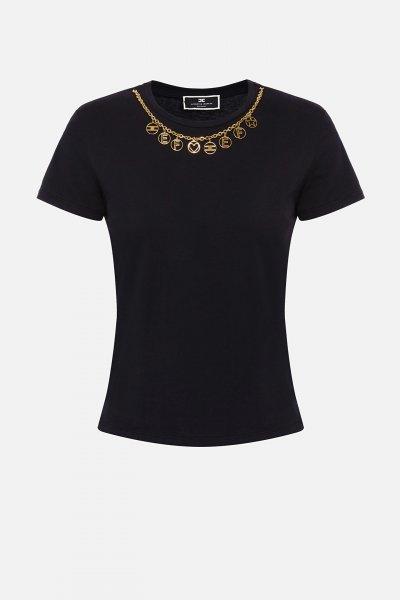 Camiseta ELISABETTA FRANCHI Colgante Negra MA20316E2
