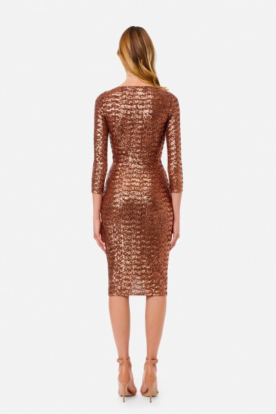 Vestido ELISABETTA FRANCHI Cruzado Joya Rosa Gold AB00111E2
