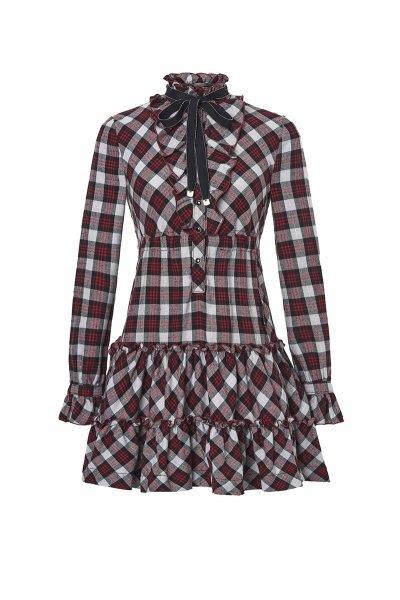 Vestido HIGHLY PREPPY Cuadros Lazo Rojo 7796