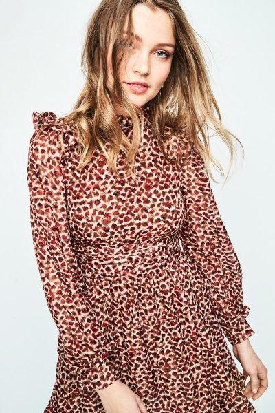 Vestido HIGHLY PREPPY Gasa Leopardo Rojo 7815