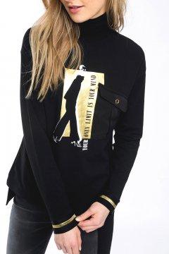 Camiseta ALBA CONDE Negra Detalles Oro 5804-216-20