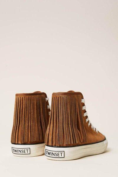 Sneakers TWINSET De Piel Con Flecos 212TCP100
