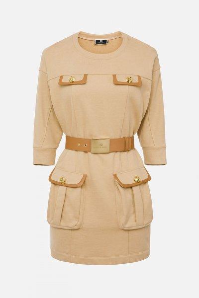 Vestido ELISABETTA FRANCHI Polar Bolsillos Y Cinturón AB99516E2